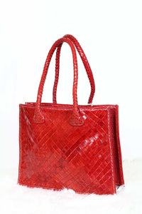 Red Woven Leather Tote bag
