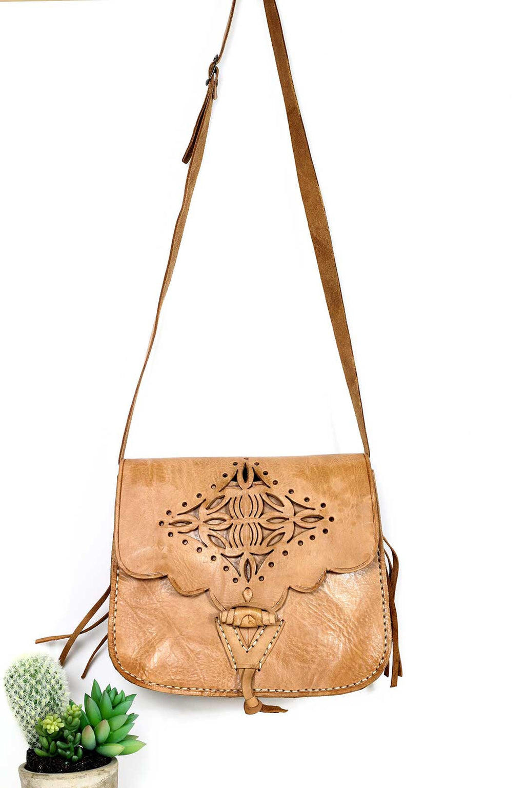 TAGHAZOUT TOOLED LEATHER CROSSBODY BAG