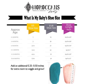 Baby Moccasin SIze Chart