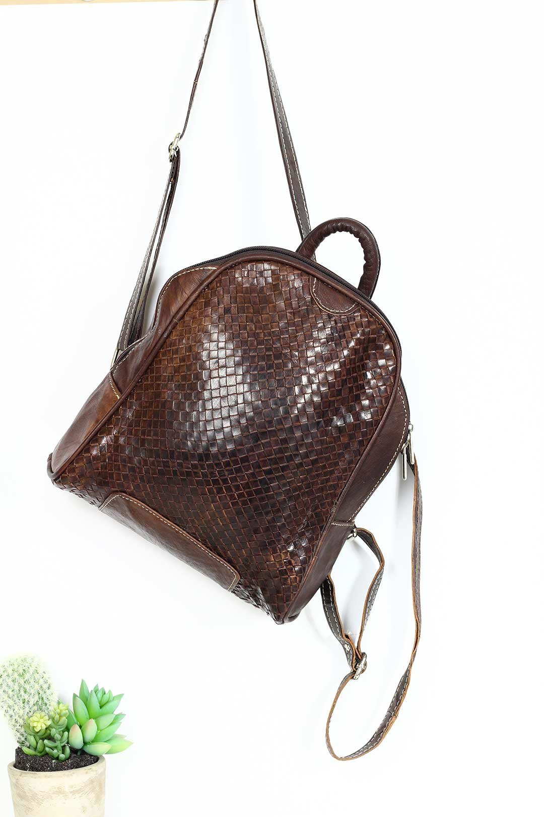 Dark Brown Woven Leather Backpack