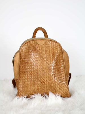 BROWN WOVEN LEATHER BACKPACK