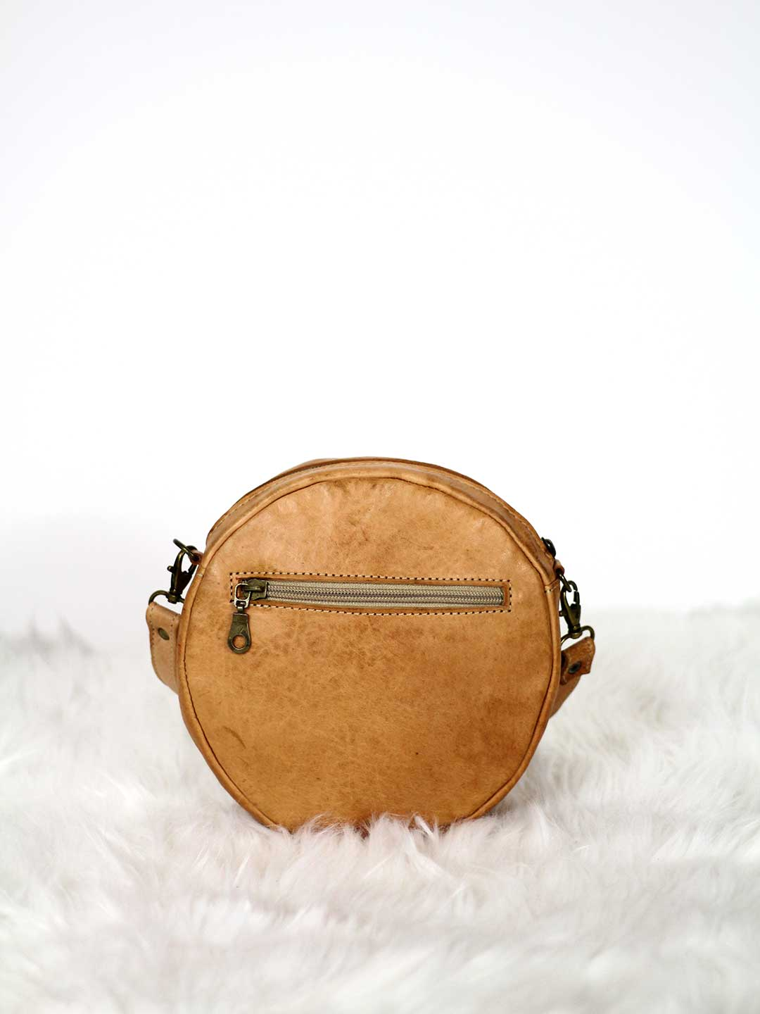 camel sun round leather crossbody bag