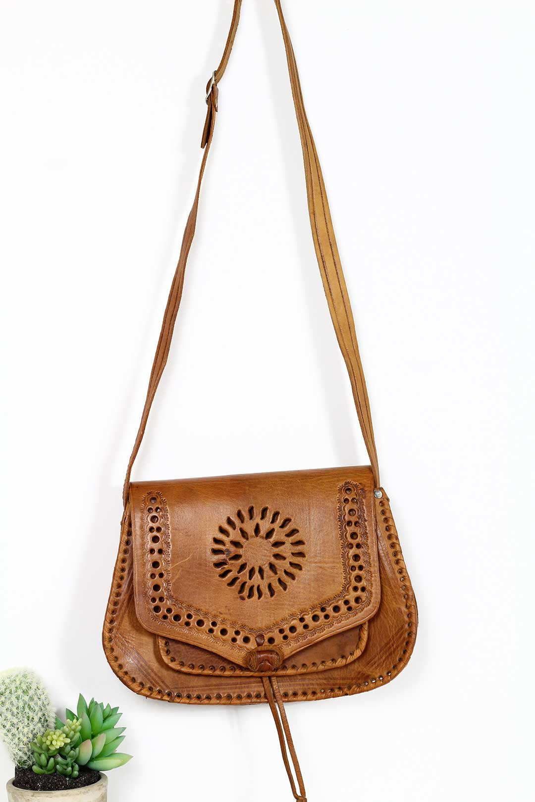 Brown Tooled Crossbody Leather Bag