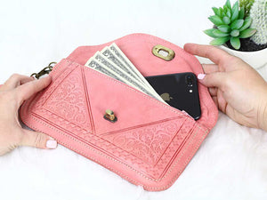 moroccan pink leather wristlet