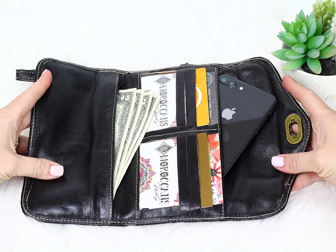 moroccan black leather trifold wristlet