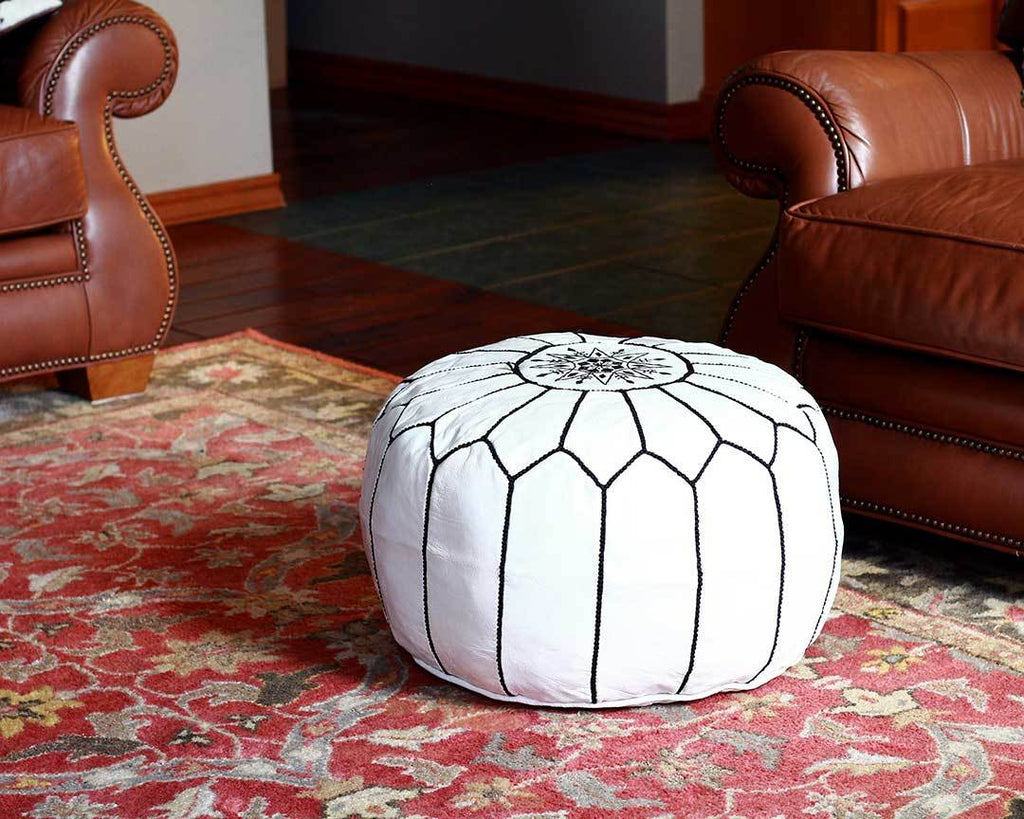 white with black stitching moroccan leather pouf