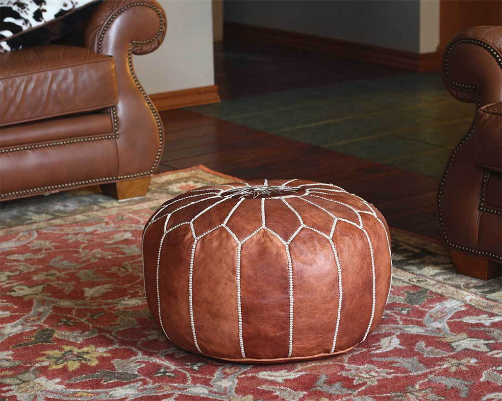 moroccan dark ten leather pouf