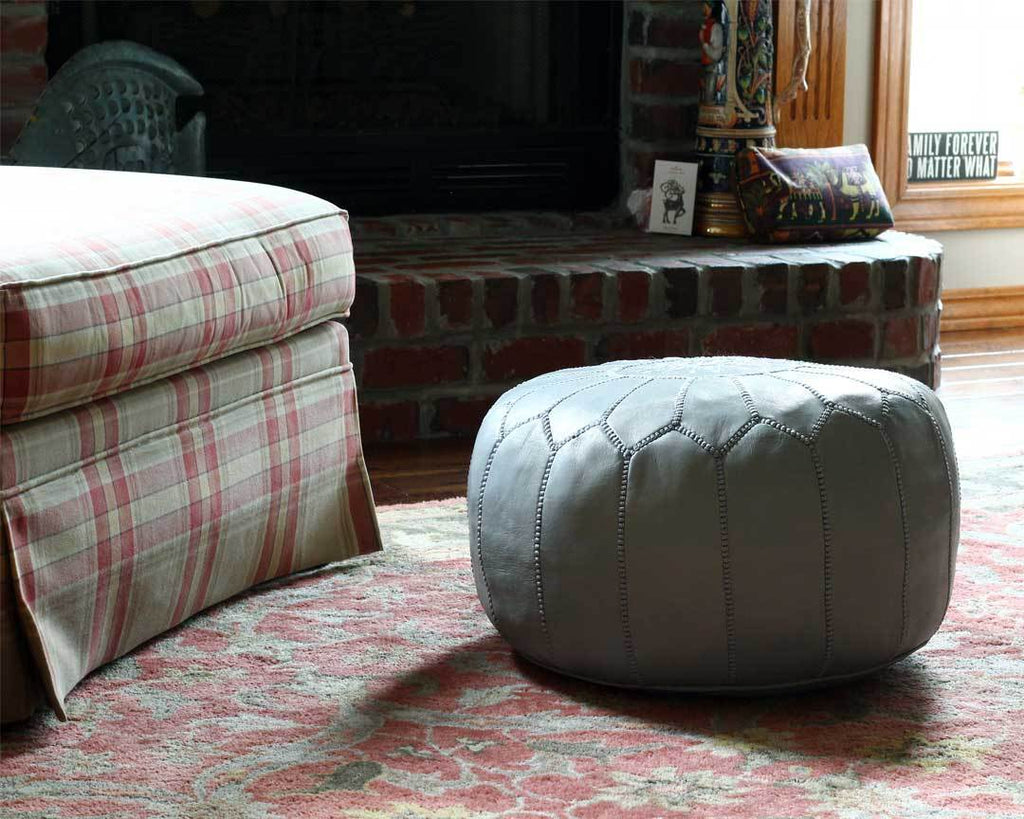 grey moroccan leather pouf