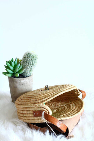 Woven Dark Tan Raffia Crossbody Bag
