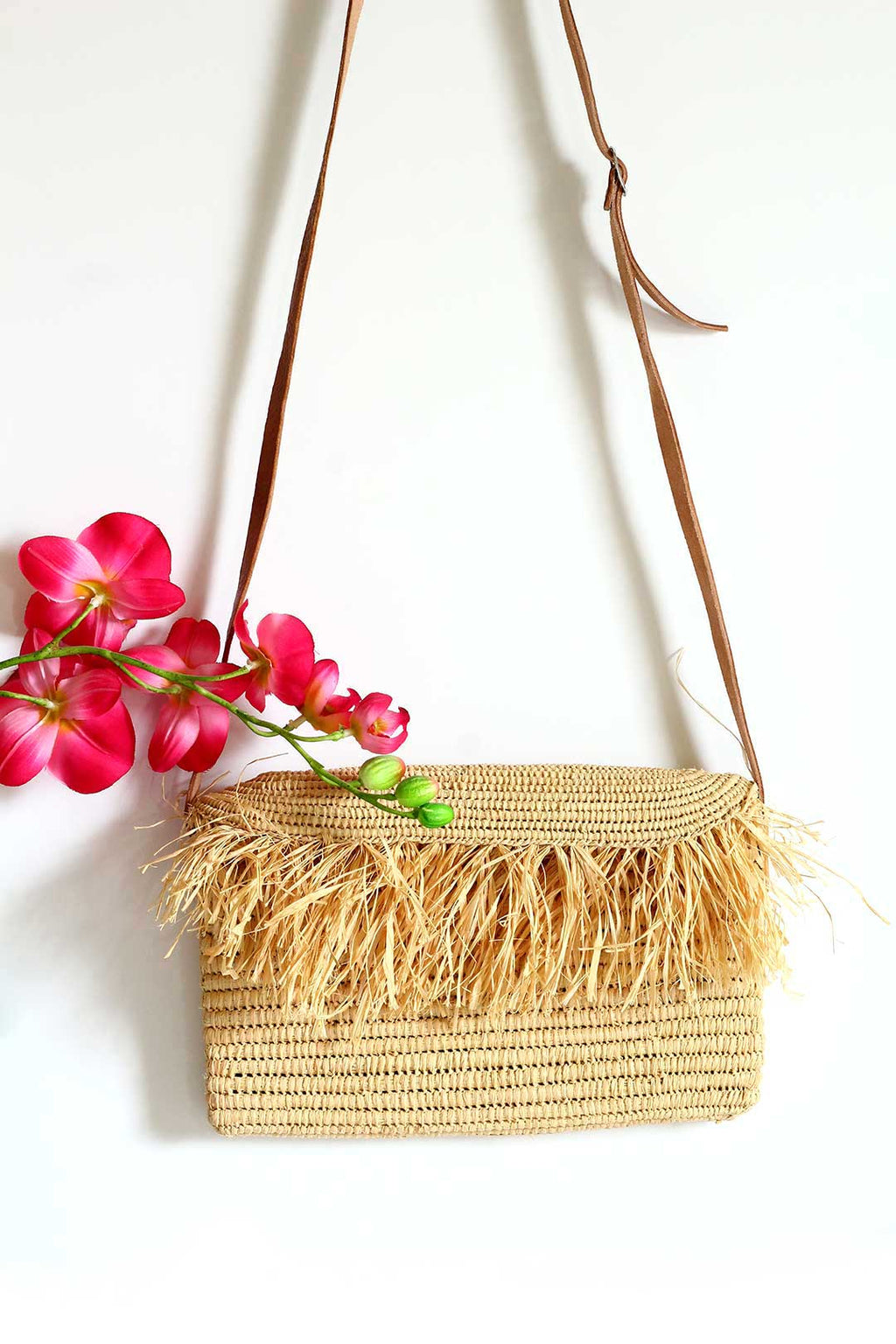 Raffia Fringe Crossbody purse