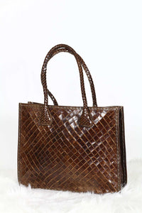 Brown Woven Leather Tote bag