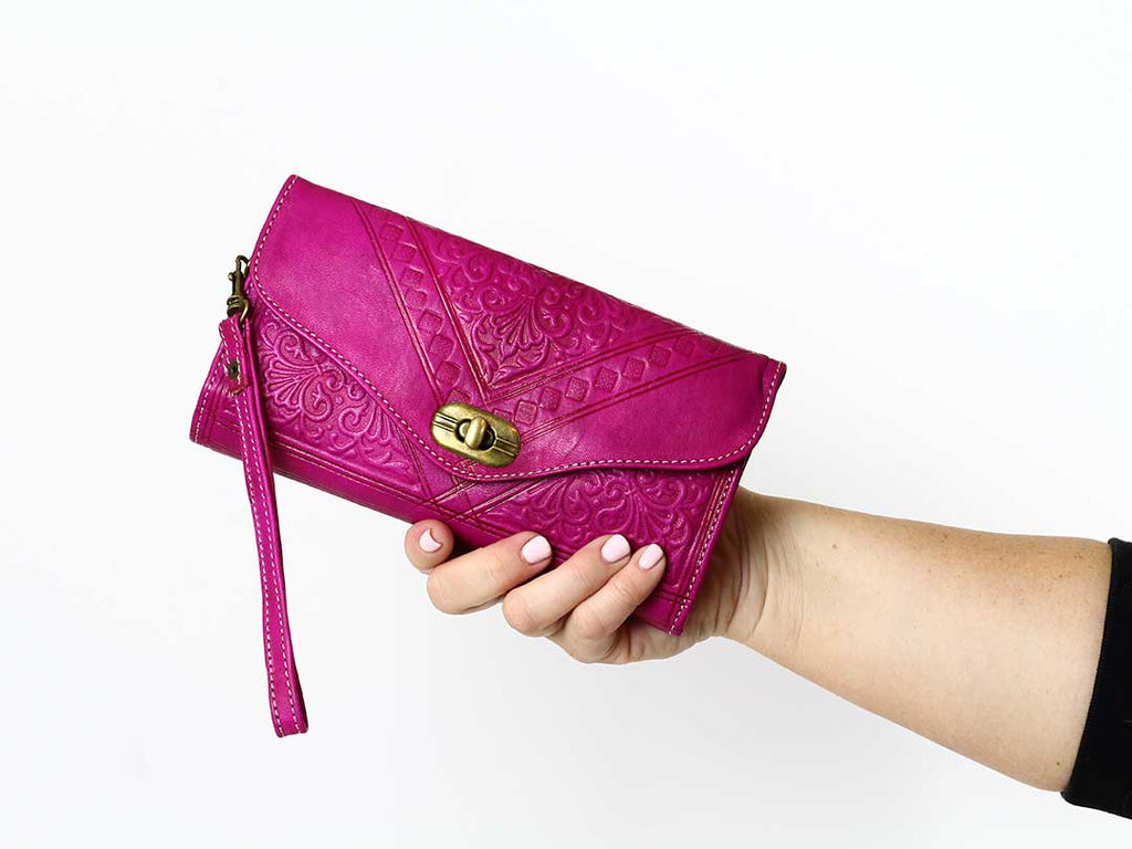 hot pink moroccan leather wristlet