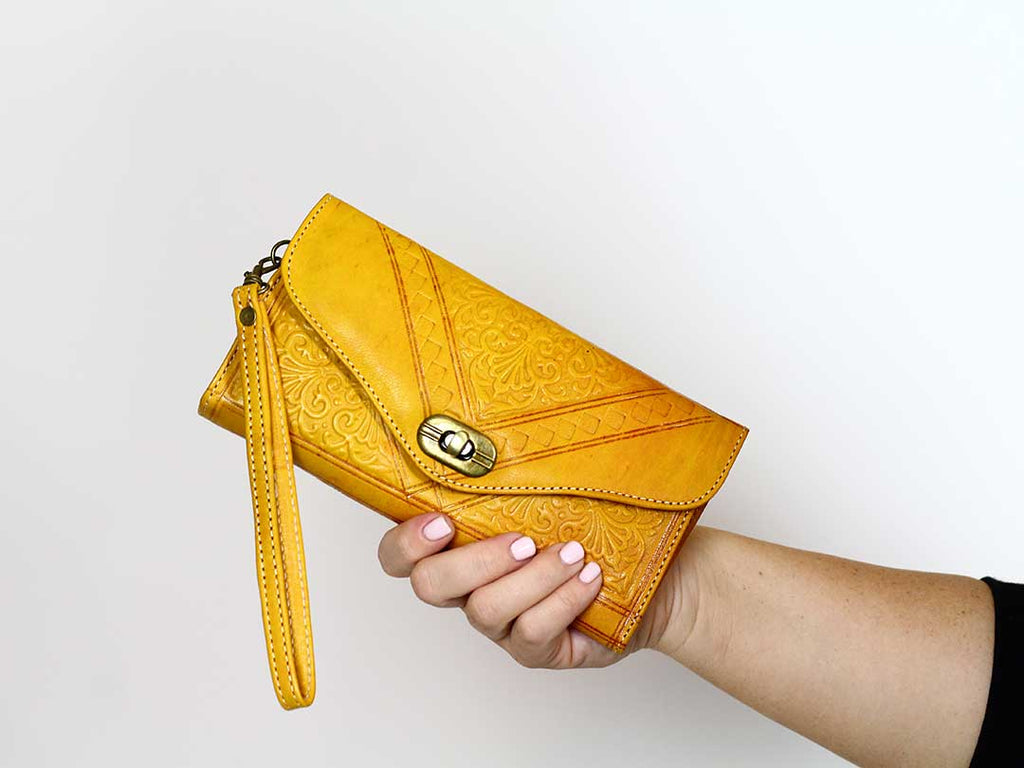 moroccan mustard trifold wristlet
