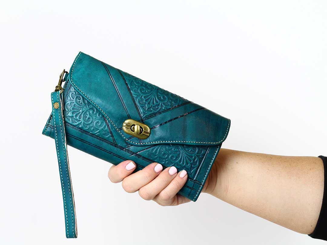moroccan teal trifold leather wristlet