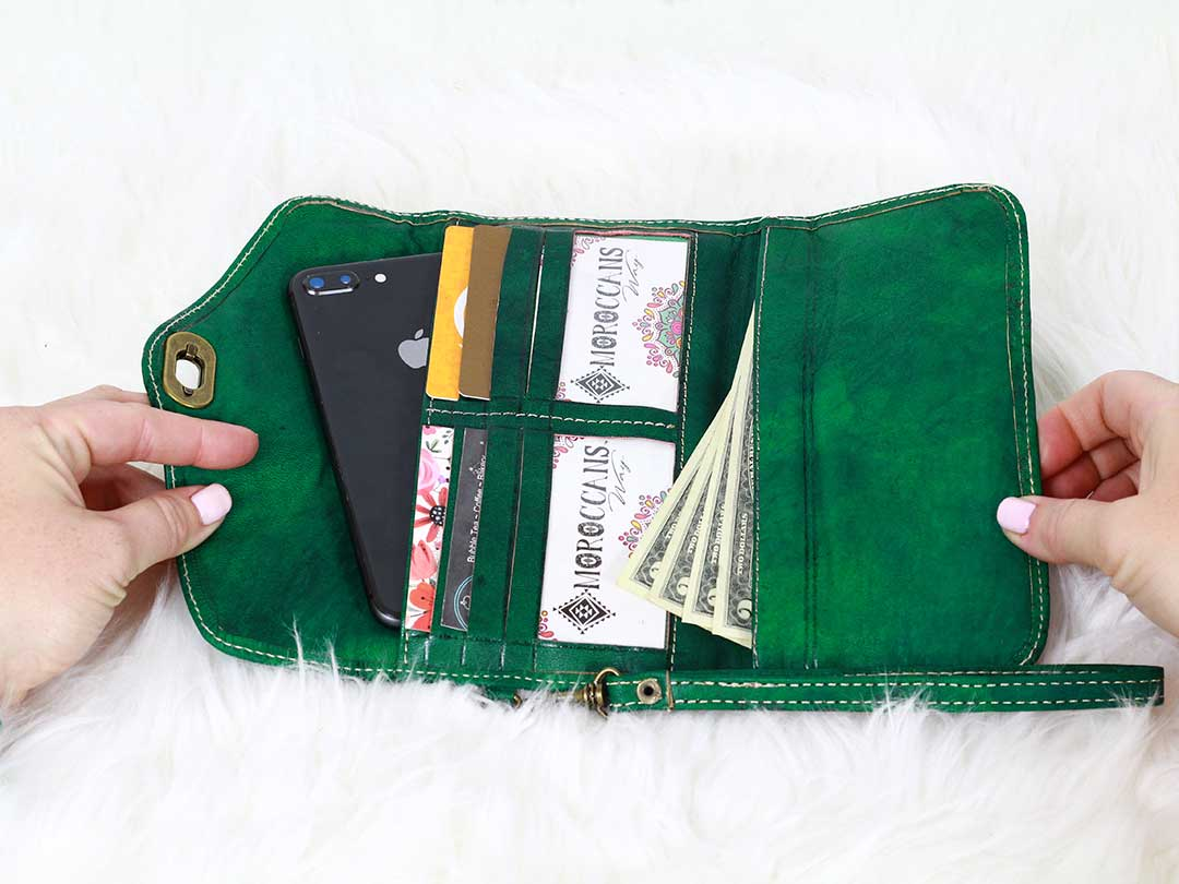 moroccan green trifold leather wristlet