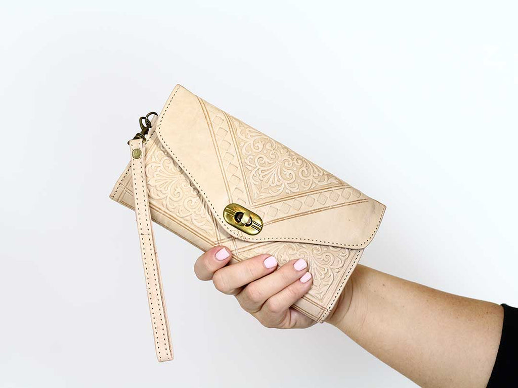 Moroccan Natural Trifold Wristlet