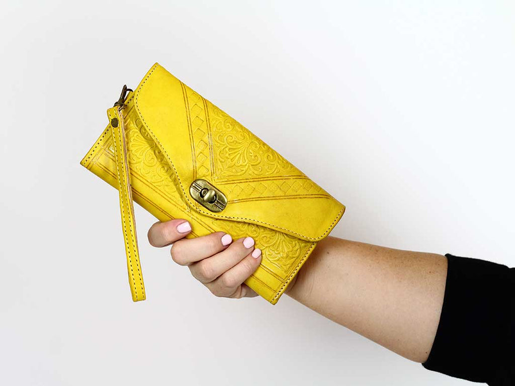 moroccan yellow leather wristlet