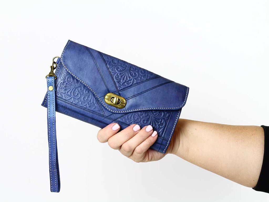 moroccan blue trifold leather wristlet