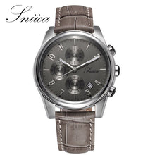 SNIICA Quartz Watch Men Business Brown Round Multi-dial Waterproof Watches Leather Clock Men WristWatch relogio masculino SN2053