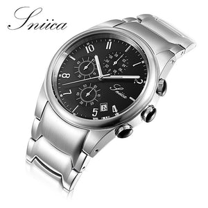 SNIICA watch men Swiss movement Italy brand Quartz watches Full Steel Watchband Wristwatch men clock relogio masculino SN2020 Black Color Available