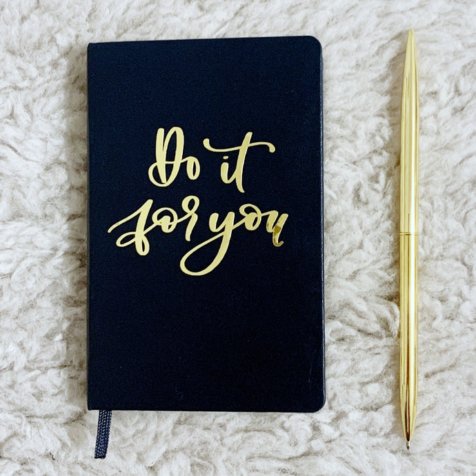 Craftey + Bossy Brushstrokes: DIY Journal with Craftey Chrome Polish Adhesive Vinyl {+ a FREE Hand-Lettered Cut File}