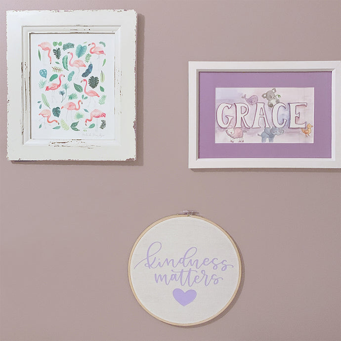 Kindness Matters: DIY Embroidery Hoop Wall Hanging Using HTV + a Free Hand-Lettered Cut File!