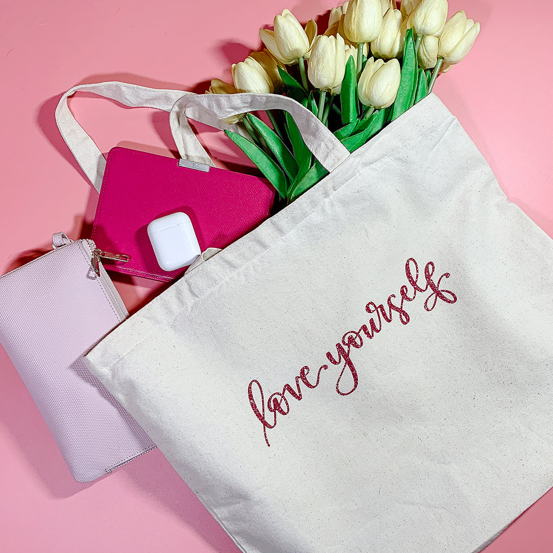 Love Yourself Tote: DIY A Canvas Tote with Color Chimp HTV + A FREE Cut File!