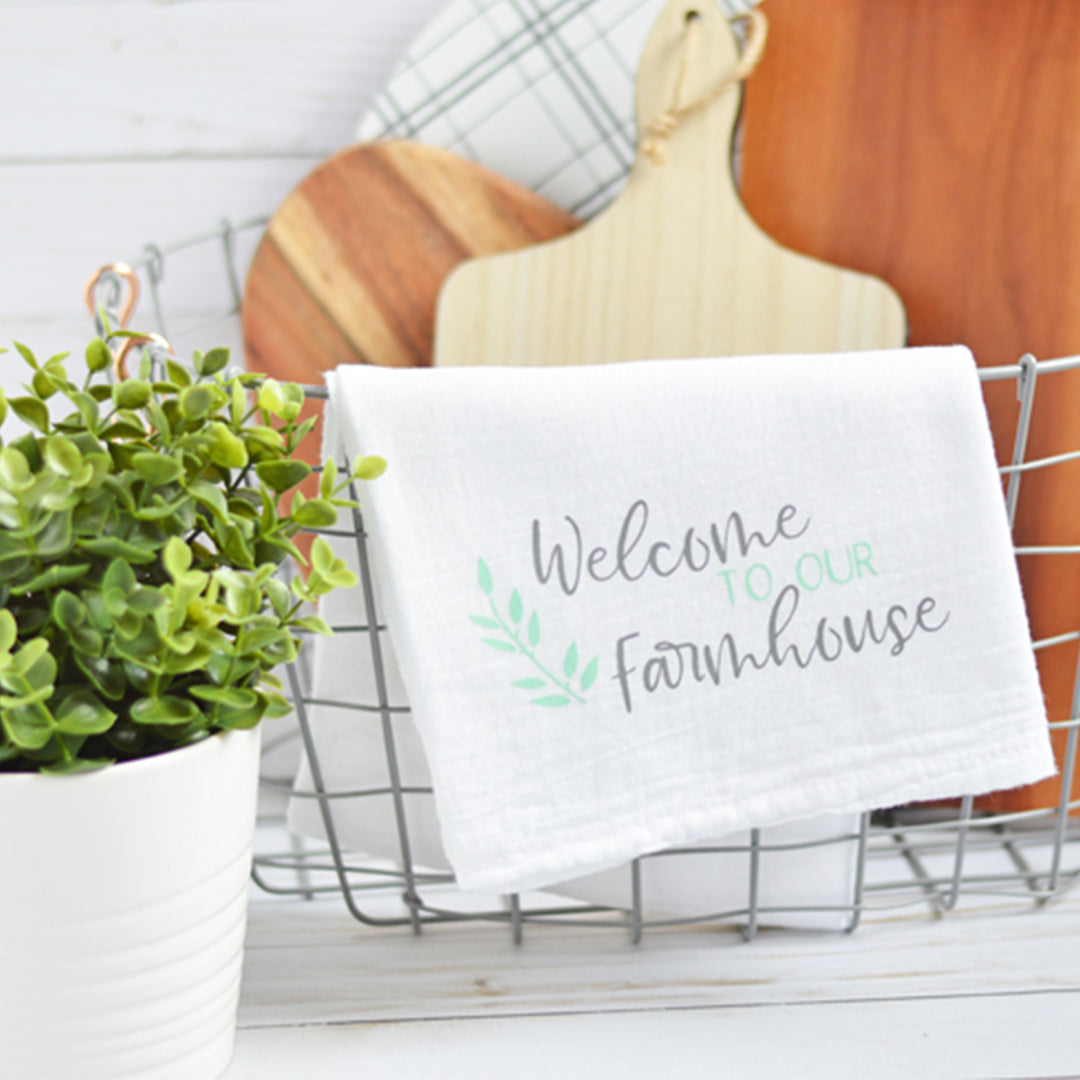DIY A Farmhouse Inspired Kitchen Towel with Color Chimp Luxe Heat Transfer Vinyl