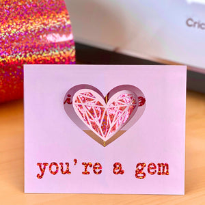 You're a Gem: DIY Card with Craftey Specialty Adhesive Vinyl {+ a Free Cut File!}