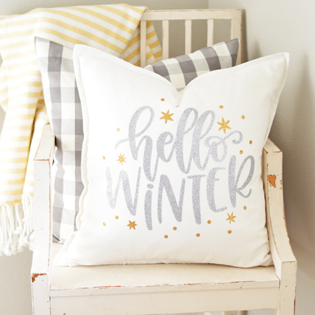 Hello Winter! Create a fun DIY Pillow Cover with Color Chimp Heat Transfer Vinyl