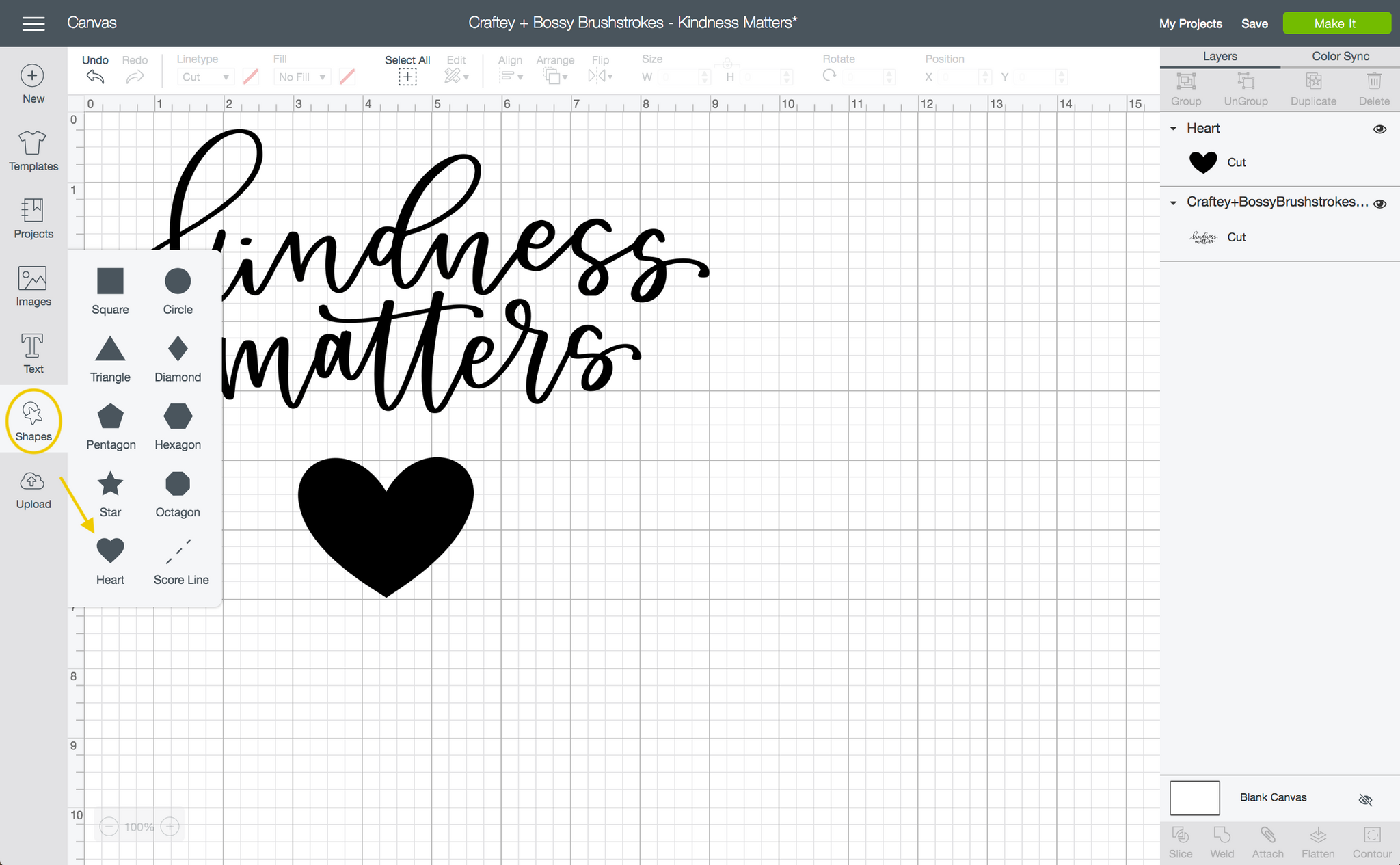Craftey + Bossy Brushstrokes Kindness Matters Add Heart