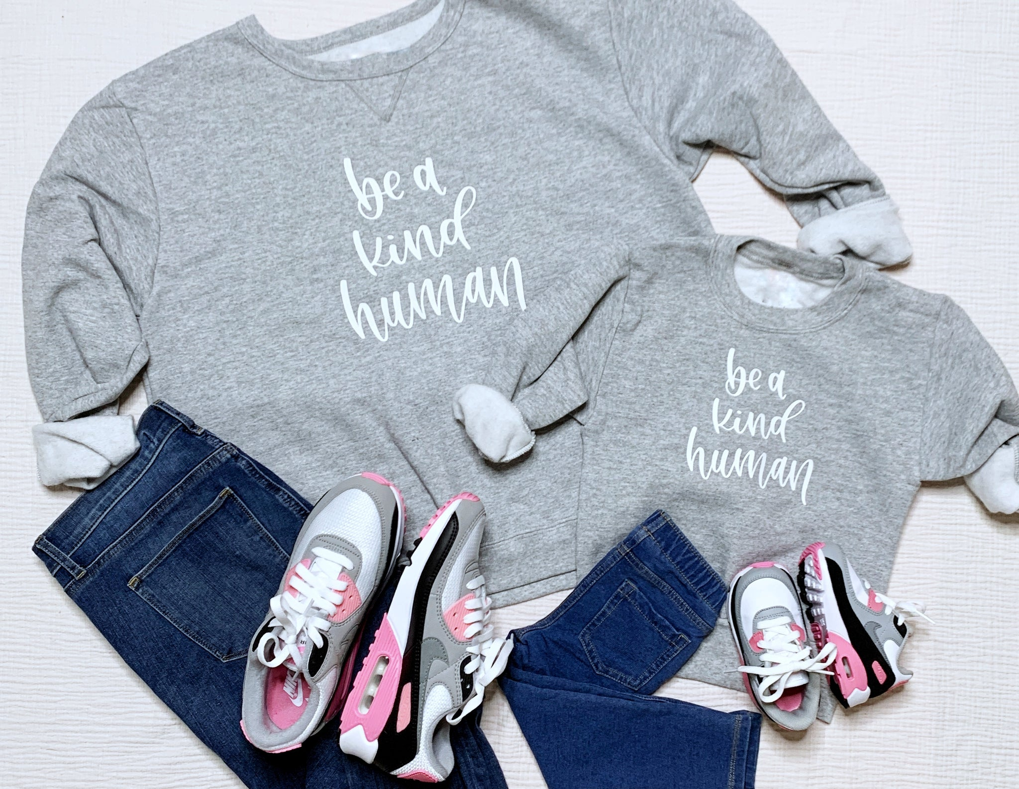 Craftey + Bossy Brushstrokes Color Chimp Luxe HTV Matching Mama + Mini Kindness Sweatshirts - Complete Styled