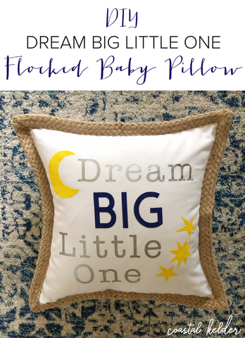 Craftey and Coastal Kelder Baby Pillow using HTV iron-on pin image