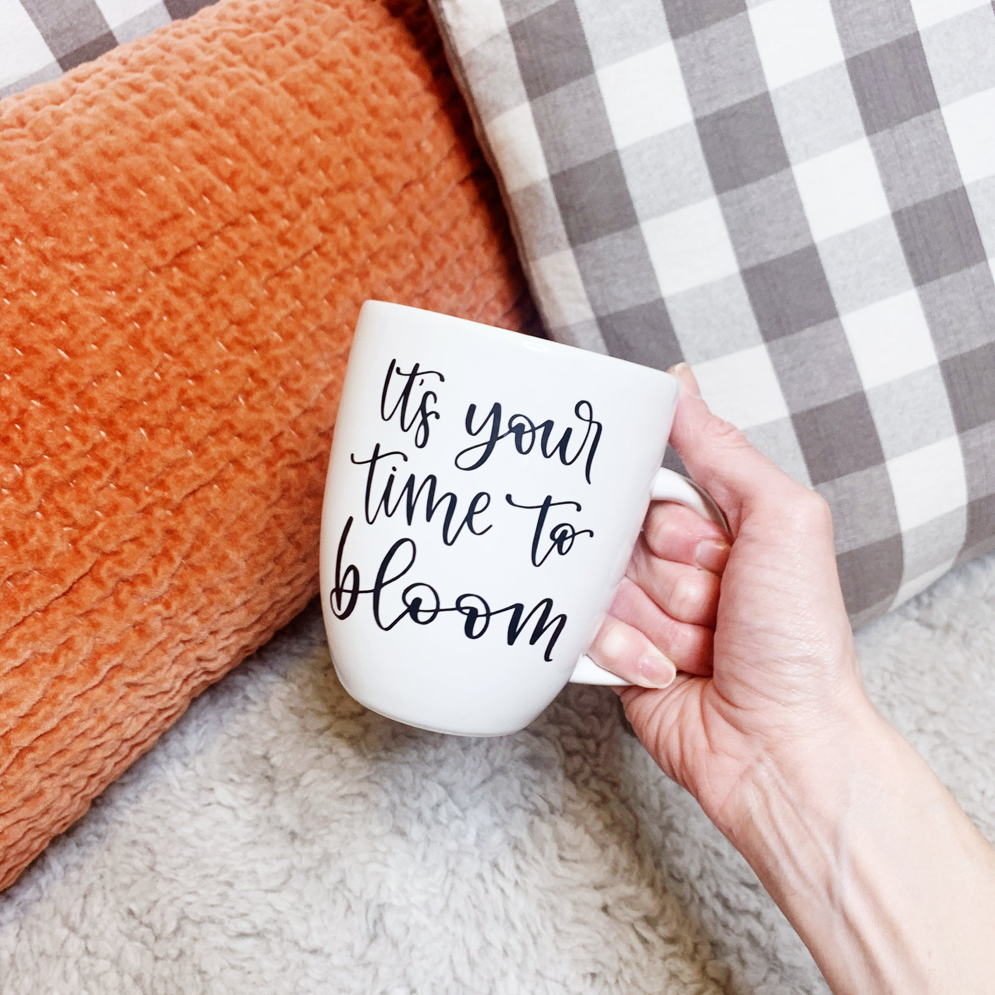 Craftey + Bossy Brushstrokes It's Your Time To Bloom Mug - Styled