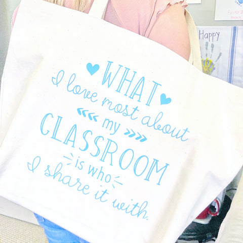 Craftey and The Mrs. Everything Vinyl Personalized Teacher Tote Bag