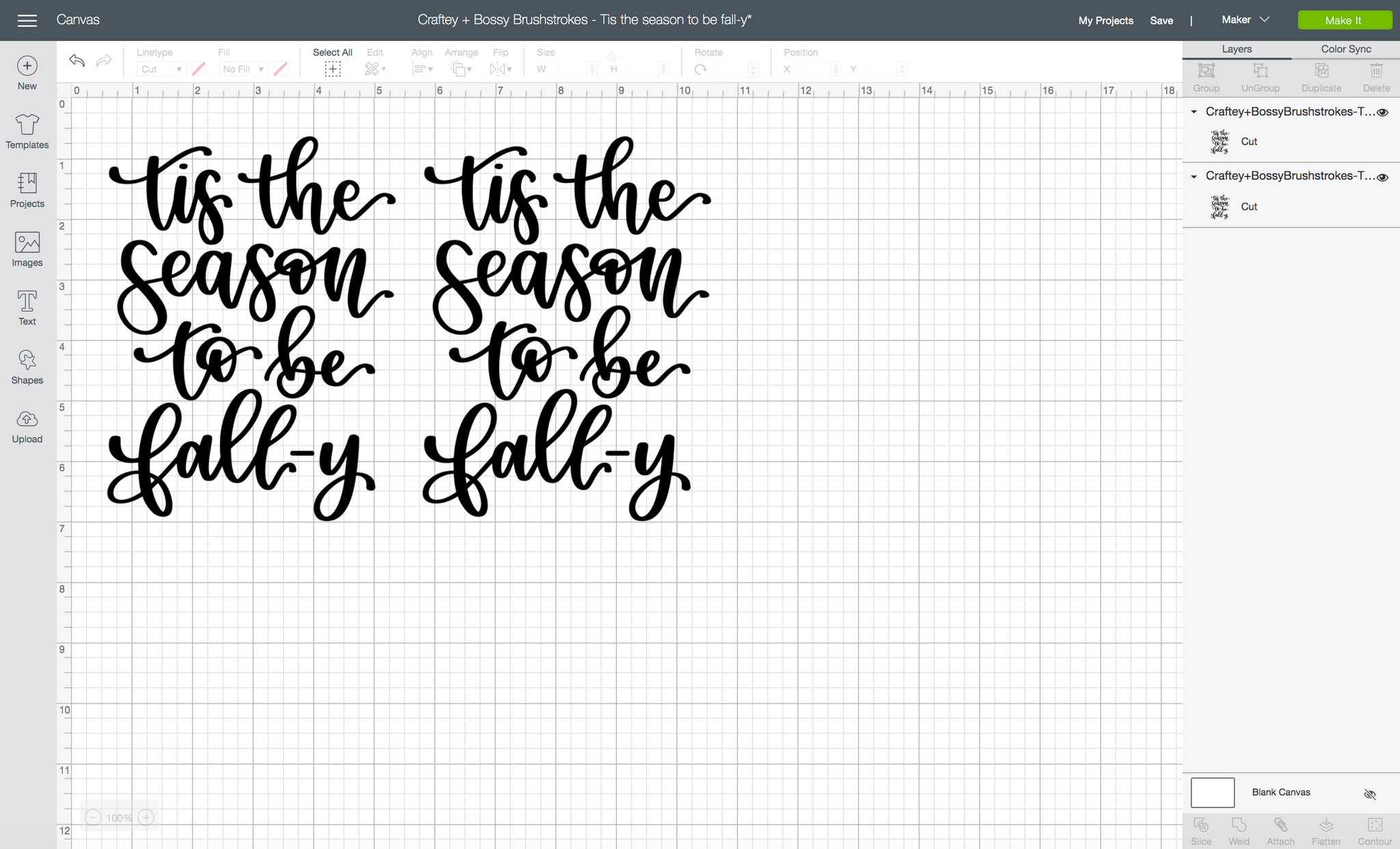 Craftey + Bossy Brushstrokes: Tis The Season To Be Fall-y Tea Towel - Design Space 2