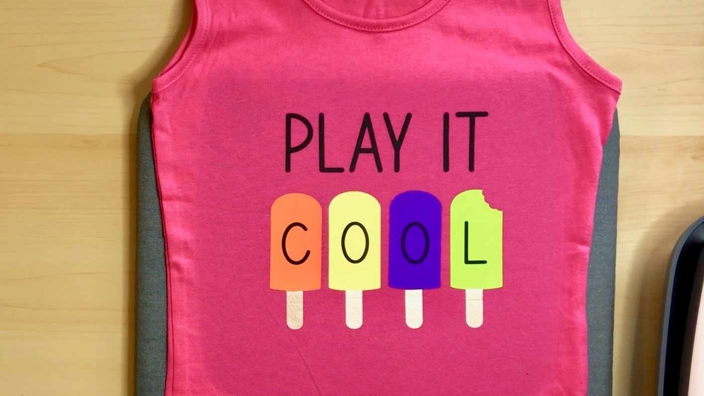 Craftey + Lovebird Heartworks Play it Cool Tank with Color Chimp HTV - Finished Project