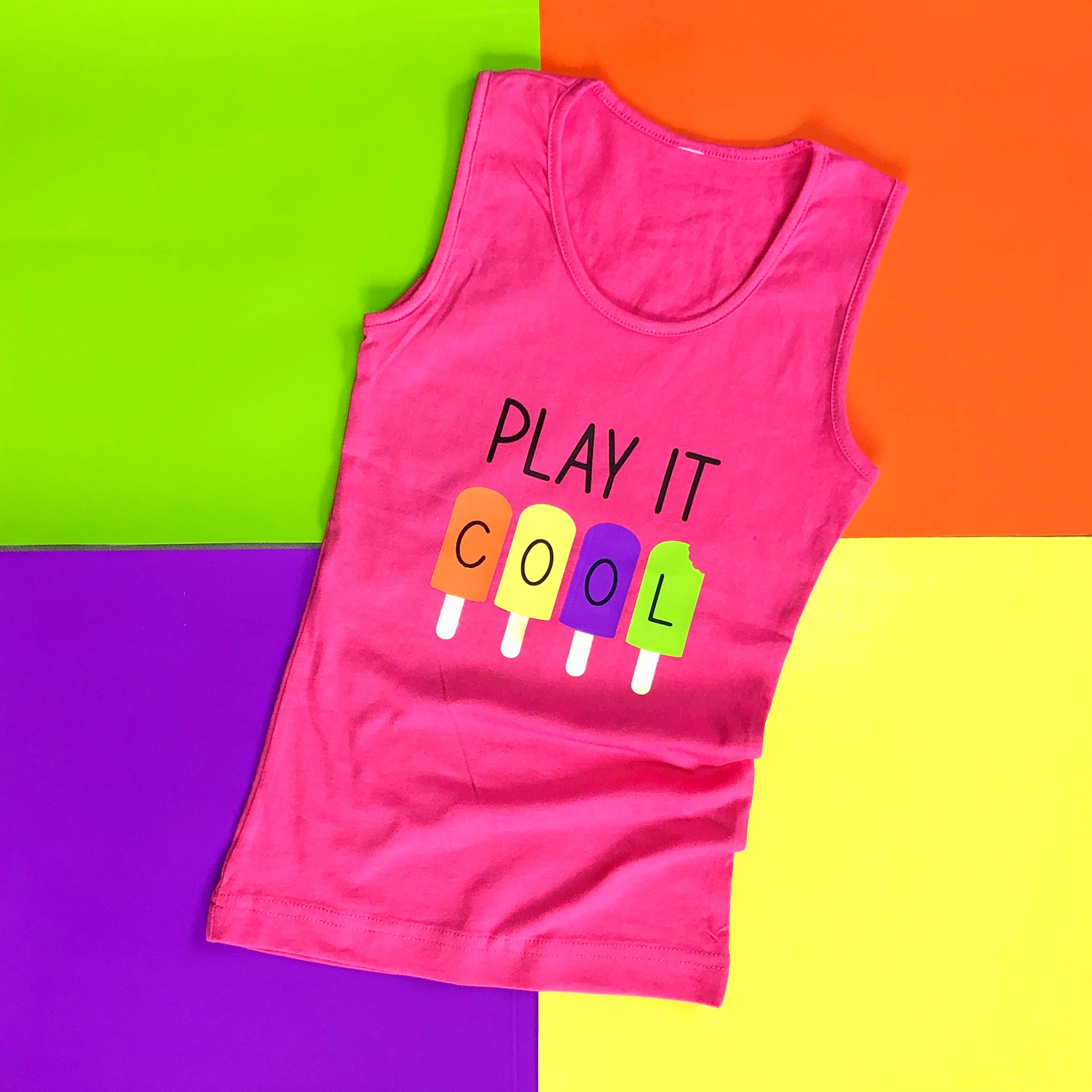 Craftey + Lovebird Heartworks Play it Cool Tank with Color Chimp HTV - Main