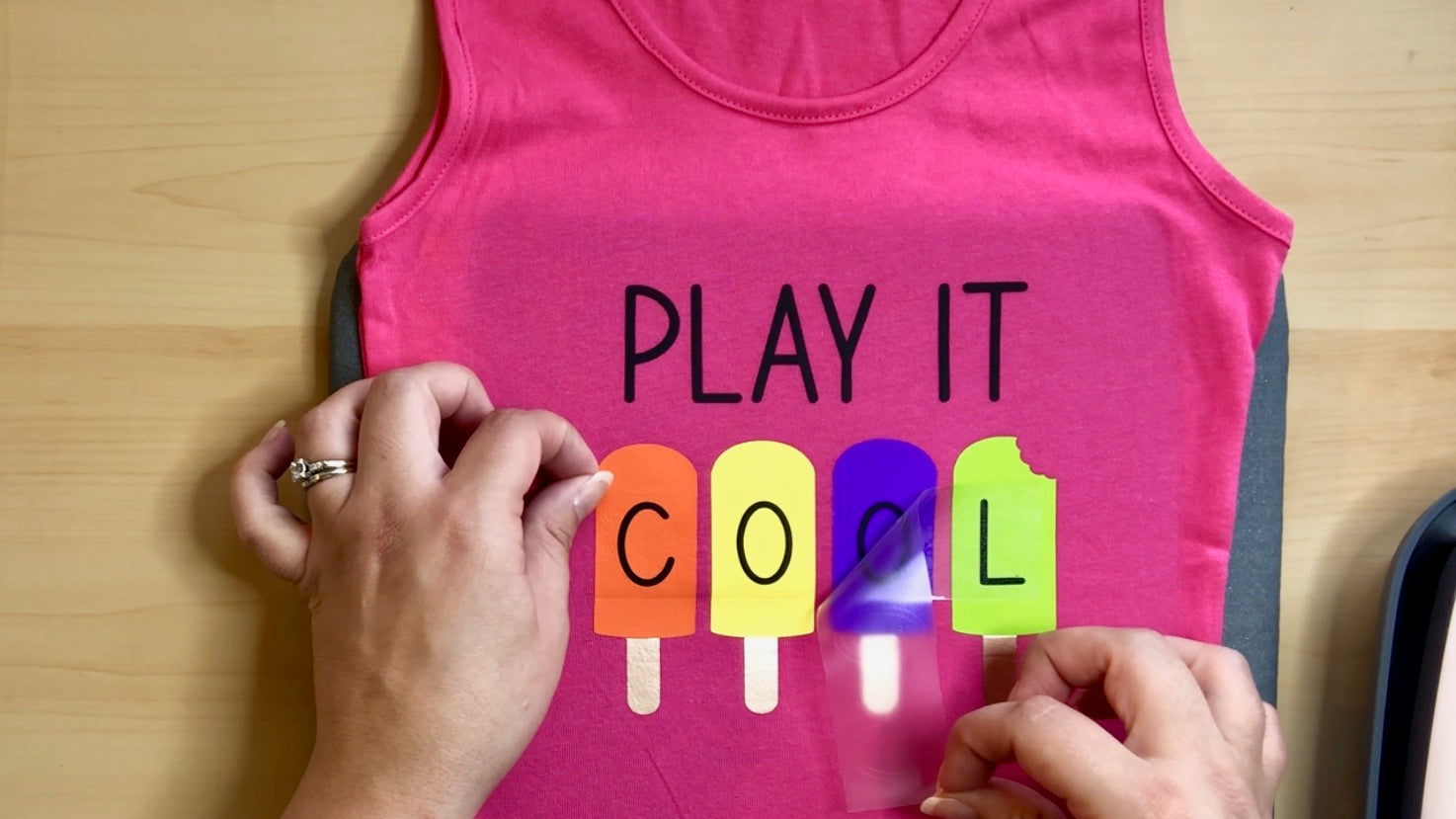 Craftey + Lovebird Heartworks Play it Cool Tank with Color Chimp HTV - Peel Final Layer