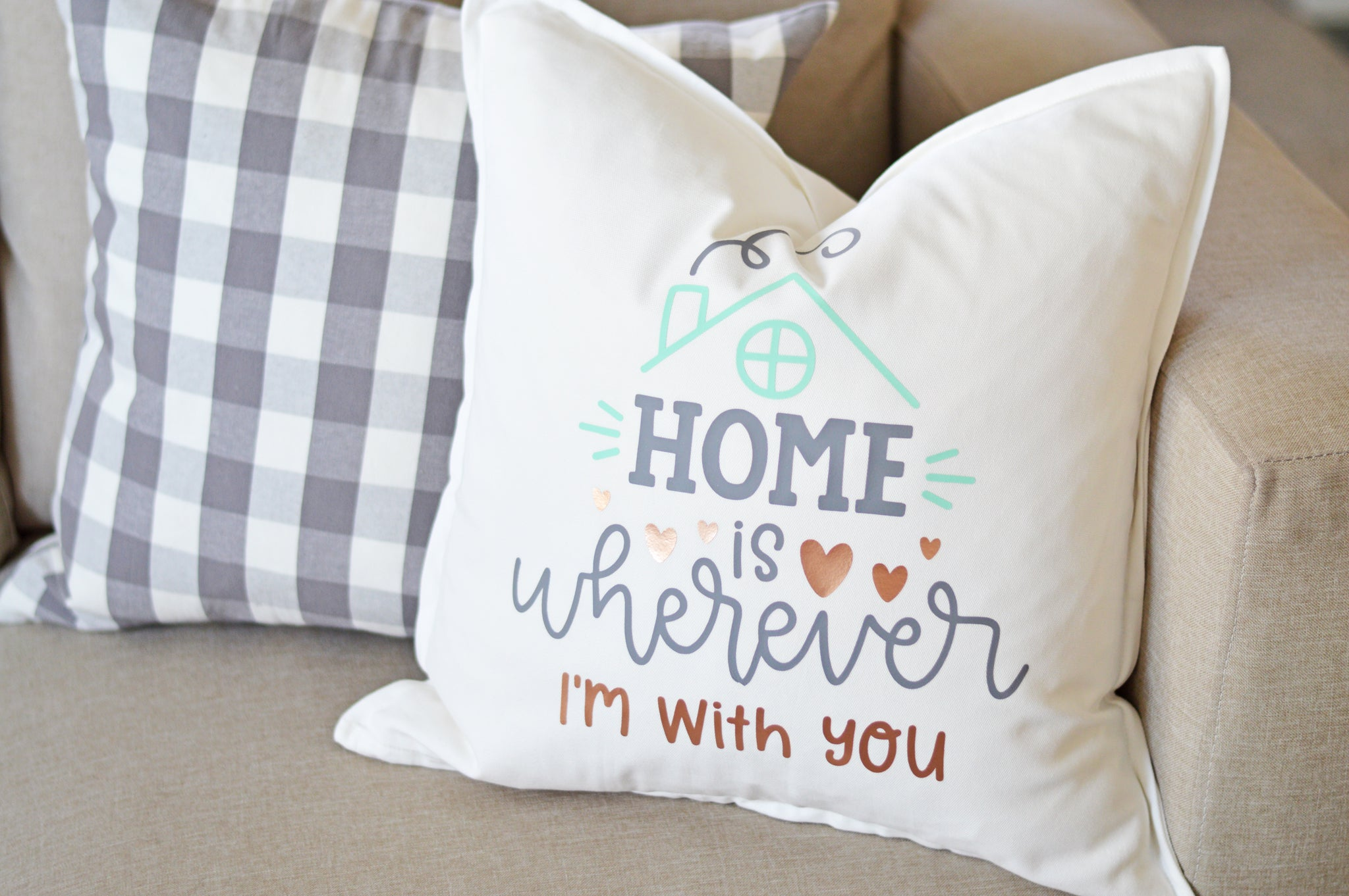 Craftey + The Happy Scraps Home is Wherever I'm with You Pillow - Complete 3