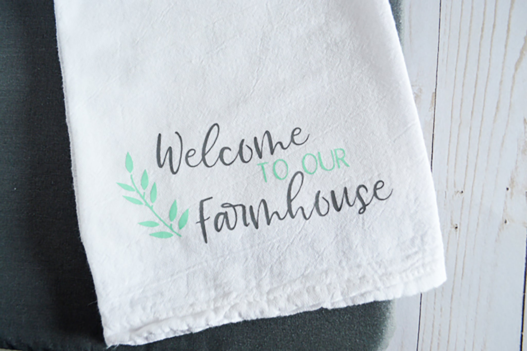 Craftey + The Happy Scraps Farmhouse Towel - Finished towel 1