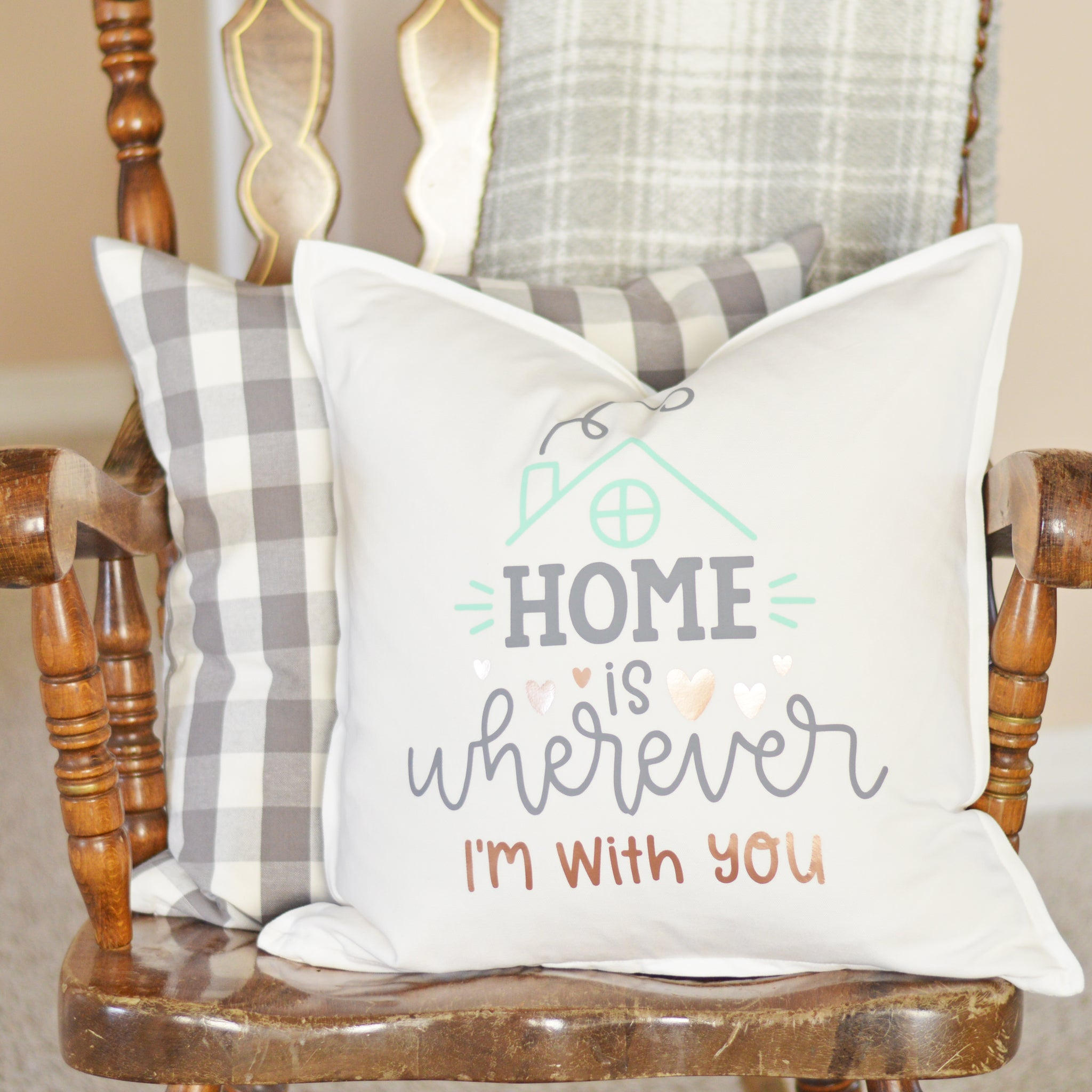 Craftey + The Happy Scraps Home is Wherever I'm with You Pillow - Complete 4