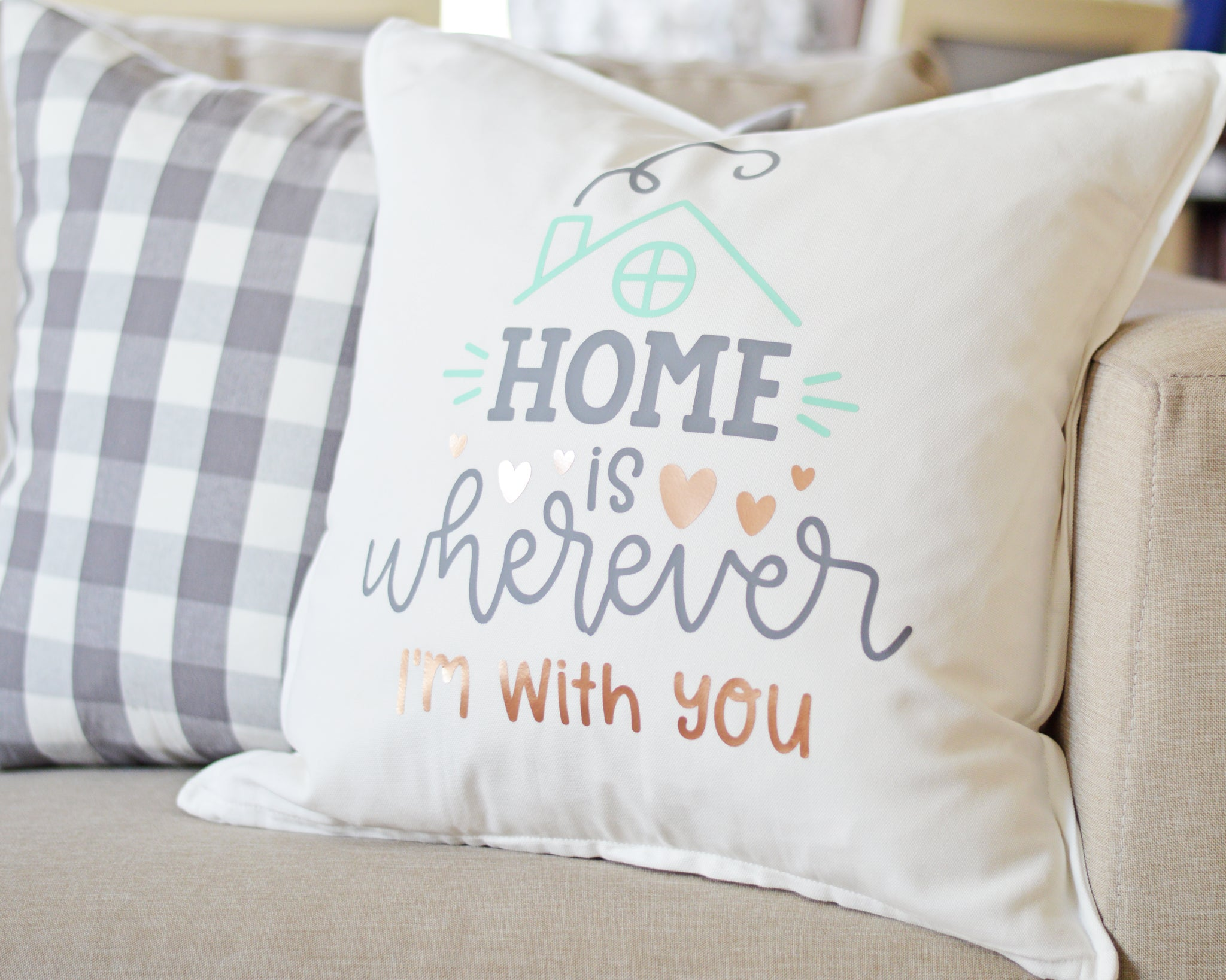 Craftey + The Happy Scraps Home is Wherever I'm with You Pillow -Main