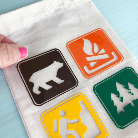 Camping Party Adhesive Vinyl Iron on heat transfer vinyl place htv on blank bag