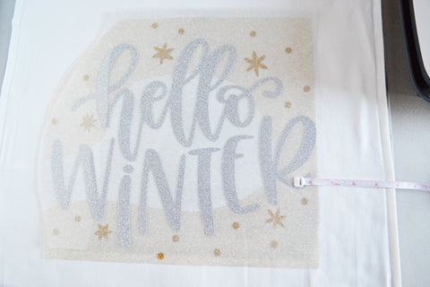 Craftey + The Happy Scraps Winter Pillow Color Chimp Glitter HTV - Placement