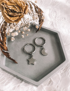 Star and moon thick hoop earrings