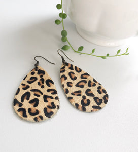 Leopard Faux Leather Dangle Earrings