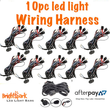 10pc LED Light Bar Wiring Harness - BrightSparkLedCo