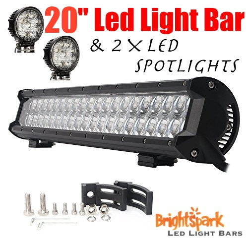 "20"" 210 WATT Cree Led Light Bar & 2 x Led Spotlights - BrightSparkLedCo"