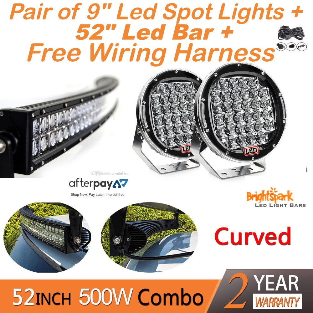 52 Led Bar 9 Cree Spotlights Free Harness Wiring Diagram For Light Also Lights Bulbs Lighting Brightsparkledco